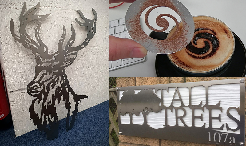 A selection of laser cut stainless steel items
